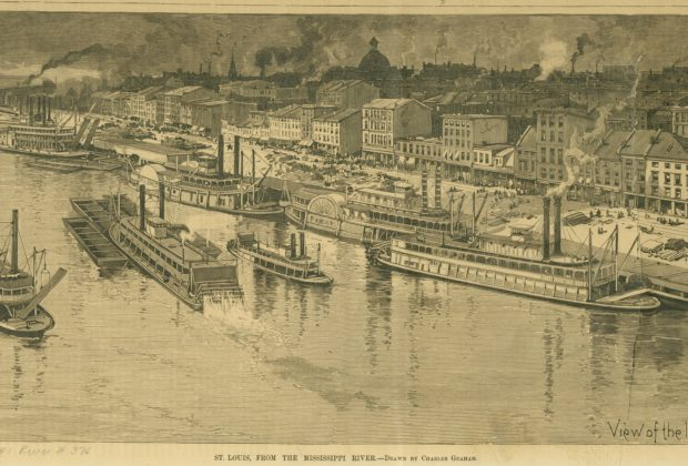 St. Louis, from the Mississippi River - View of the levee from the bridge. Wood engraving after Charles Graham, 1888. From Harper's Weekly, 9 May 1888, Supplement, p. 422. Missouri Historical Society Photographs and Prints Collections. River 0376. Scan © 2006, Missouri Historical Society.